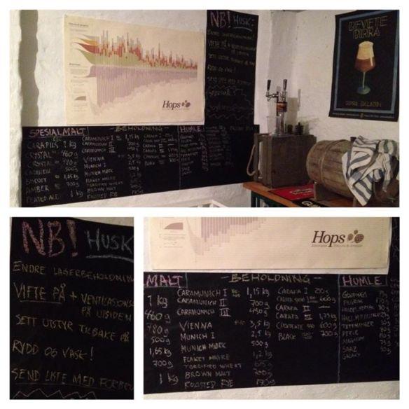 Tavler med oversikt over hvia som befinner seg i bryggeriet. Foto: Søylegården nanobryggeri på facebook.